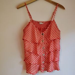 Body Central Red & White Ruffle Tank Top